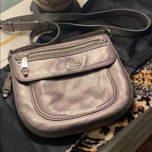 Cole Haan metallic gray crossbody bag